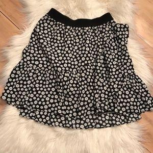 Maeve Ruffled Button Black & White Mini Skirt XXS